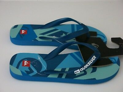 047514387 Quiksilver 7 Men s Flip Flops Sandals Shoes Blue Java Logo Beach Summer NWT