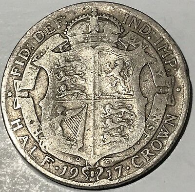 1917, Great Britain, George V. Nice Silver Half Crown Coin. F-VF!