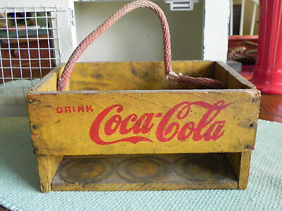 Vintage Coca Cola Wood 6 Bottle Carrier FOR THE HOME Rare 1940's