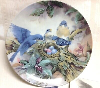 1989 W.S. George China/Lena Liu-BLUEBIRDS, Nature's Poetry Collection Plate,-NEW