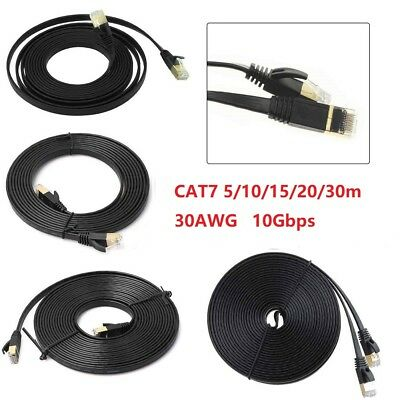 5-30m CAT7 RJ45 Cord 10Gbps Ethernet Network Lan Flat Shielded Cable Patch Lead