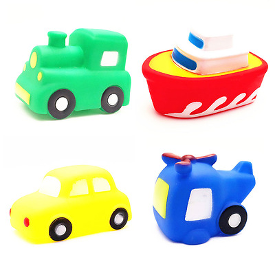 4pcs Baby Toddler Boat Car Bathtime Floating Squeaky Squeeze Bath Toy Water Play