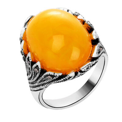 Fashion Ancient Silver Agate 18K Gold Plated Ring Retro Ornament Festival Gift