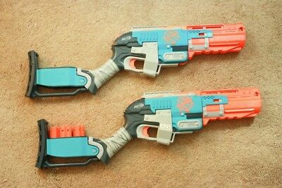 Lot of 2 Nerf Zombie Strike Sledgefire Dart Blaster With 3 Ammo Clips No Darts
