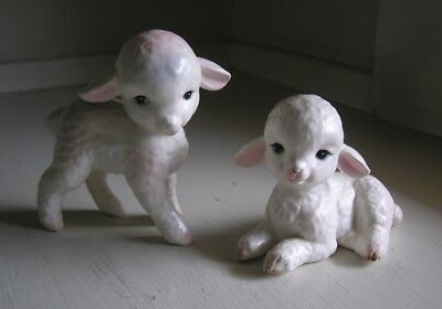 Pair 2 Vintage Lefton China Easter Lamb Sheep Figurines