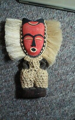 interesting vintage hand carved wooden sculpture possible African,unusual