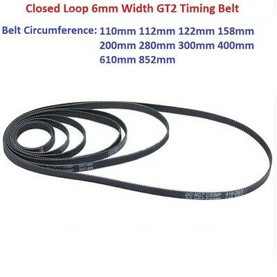 3D Printer Closed Loop 6mm Width GT2 Timing Belt 110 112 158 200 280 400 852mm