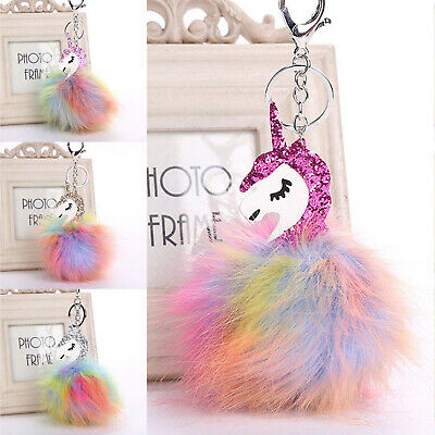 Pretty Unicorn Horse Keyring Handbag Key Ring Fluffy PomPom Bag Charm Pendant