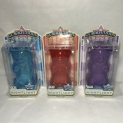 Gummy Bear Night Light Lot Squeezy Gummygoods Toy Lamp Blue Red Purple