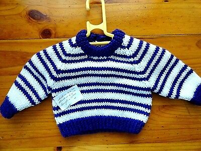 Baby Hand Knitted Jumper In Purple & White Chest 44 Cm..