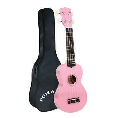 21'' Soprano Ukulele Hawaii Guitar Uke 12 Fret With Padded Carrying Bag- Pink