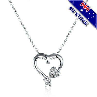 Sterling Silver Filled Clear Crystal  Hollow Arrow Love Heart Pendant Necklace