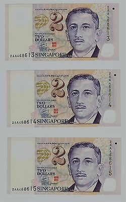 Singapore, 3 consecutive 2 Dollars 2011 (UNC)