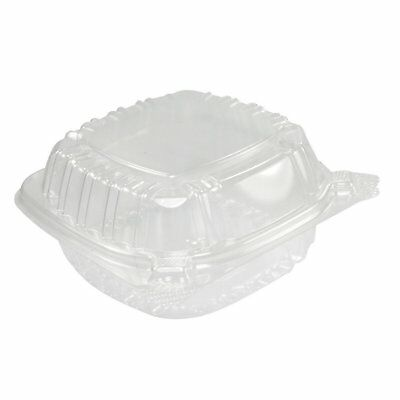 Clear Plastic Food Container Small Hinged for Sandwich Salad Cake Slice 50-Count