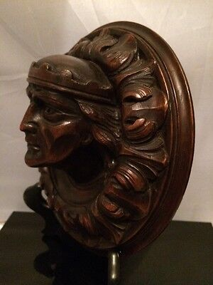FAB! Antique 19th.c French Nobleman Hand Carved Dark Wood 3D Round Plaque