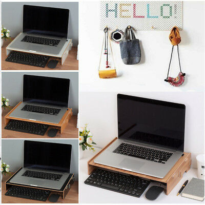 Monitor Stand LCD Computer Desktop Holder Riser Height Laptop Wooden Display