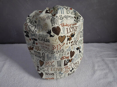 Bouffant surgical scrub hat cap beige brown multi hearts love dogs