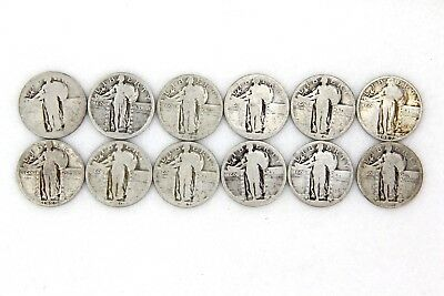 Estate Find Mixed Dates Standing Liberty Quarter 25C Lot of 12 Silver Coins
