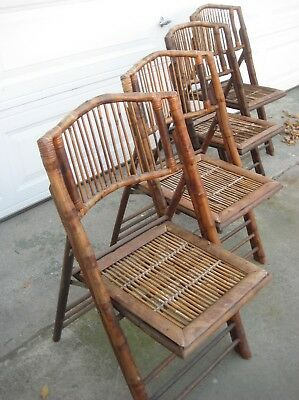 Vintage rare Mid Century Bohemian Bamboo/Rattan 4 Folding Chairs