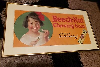 """Beech Nut chewing Gum Vintage Trolley Advertising Framed 22"""" x 12"""" rare usa"""