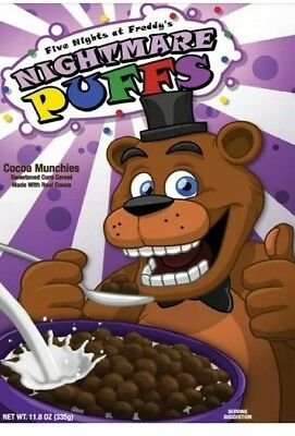 FNAF Five Nights at Freddy's Nightmare Puffs Cocoa Munchies Cereal Exclusive USA