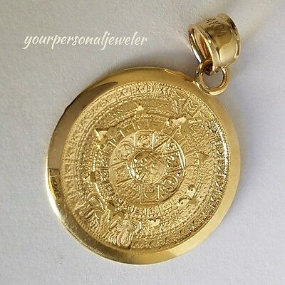 Solid Real 14k Yellow Gold Aztec sun calendar Pendant Charm 1.20 inch long