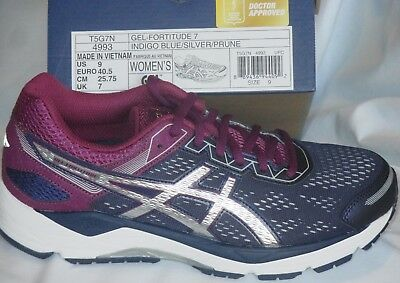 b65dedd8 WOMENS 9 ASICS GEL FORTITUDE 7 Running Shoes BLUE SILVER Prune PURPLE T5G7N  4993