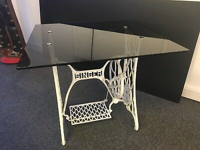 Smoked Glass Topped Table With Singer Sewing Machine Base.