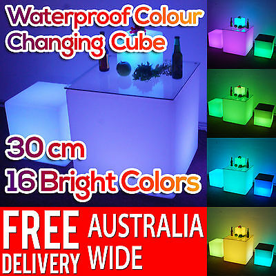 30cm Waterproof Outdoor Light Garden LED Cube Chair Lamp Furniture with Remote