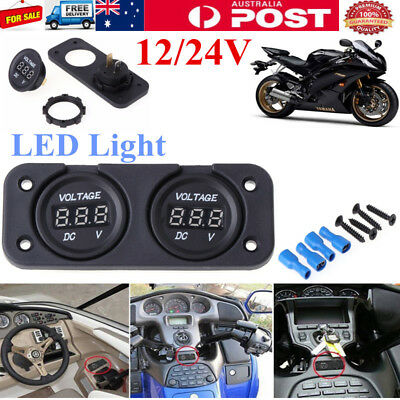 Dual Battery Monitor Digital Display Voltage Meter DC 12V-24V Car Boat Voltmeter