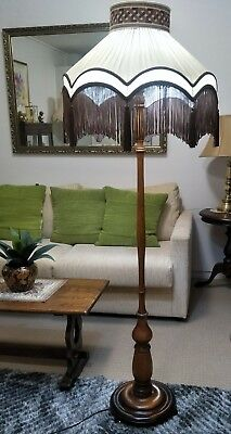 Two Toned Antique/vintage Standard Lamp With Fringed Shade - Excellent Condition