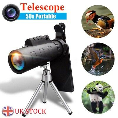 Monocular 50X HD Zoom Night Vision Telescope + Clip For Mobile Phone UK
