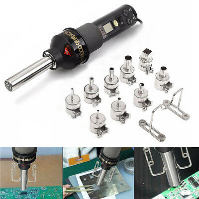 450W Electronic Heat Hot Air Solder Gun Desoldering Soldering Station + 9 Nozzle
