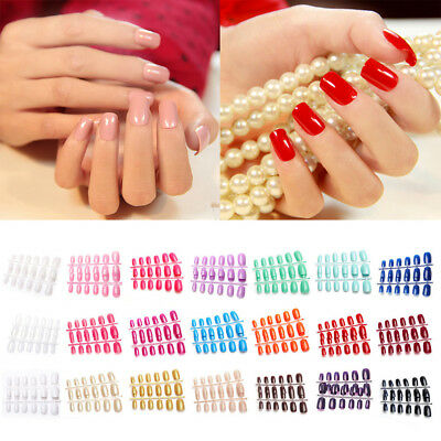 Colorful Art False Nails French Manicure Natural Full Cover Medium Tips UK