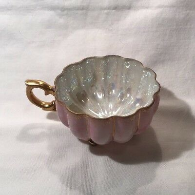 Vintage 3 Footed Opalescent Tea Cup - Pink/Purple With Golden Accents - Japan