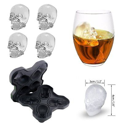NEW Design Silicone 3D Skull Shape Ice Cube Trays Mould Cocktails Whisky Maker