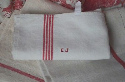 A classic French red striped torchon, hand embroidered EJ monogram