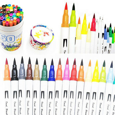 60 Color New Watercolor Art Markers Dual Tip Pen Brush Art Sketch Assorted Set