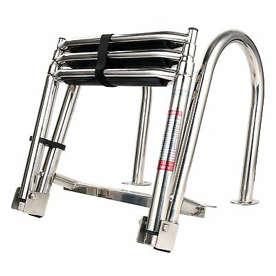 Marine Boat Folding Pontoon Rear Entry Ladder 3 Step Extra Wide Step Stainless