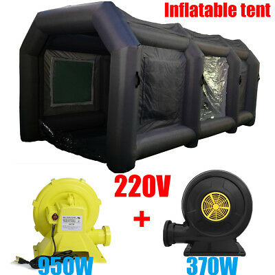 8M/12M Portable Inflatable Tent Paint Car Spray Booth Black With 2 Air Blowers