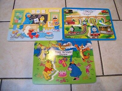 3 x Baby PUZZLES (the pooh / Thomas train / Sesam street) in wood