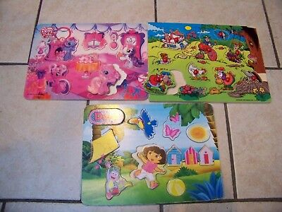 3 x Baby PUZZLES (DORA / Studio 100 - Kabouter PLOP /My little Pony) in wood