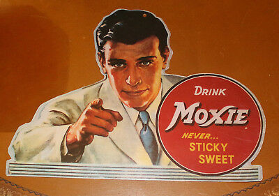 Vintage Drink Moxie Store Display Never Sticky Sweet Hanging Paper Card Board