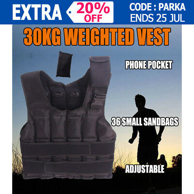New 30kg Weighted Vest Adjustable Weighted Vest Jacket Exercise Fitness Training
