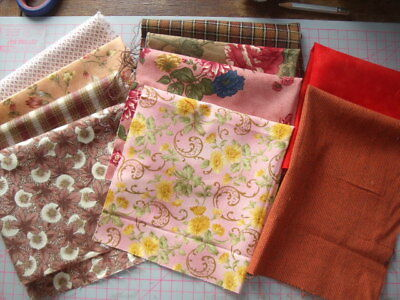 10  pieces 100% cotton quilting / patchwork material shades of pink and brown