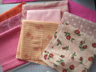 9  pieces 100% cotton quilting / patchwork material shades of pink 2