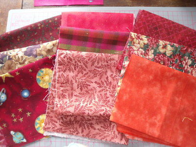 9  pieces 100% cotton quilting / patchwork material shades of red