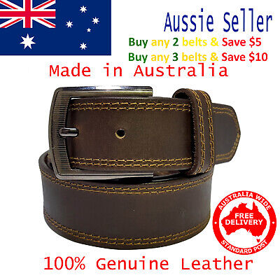 New 39mm Genuine Cowhide Premium Quality Double Stitched Leather Brown Mens Belt