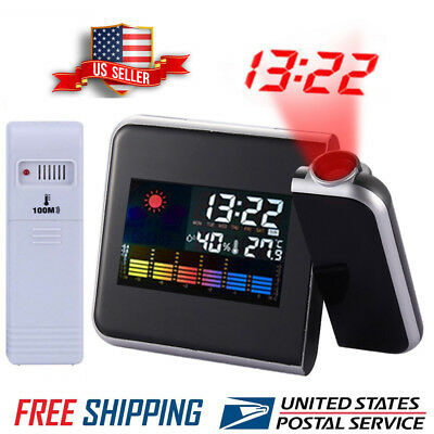 Projection Digital Weather LCD Snooze Alarm Clock Colorful Display Backlight LED