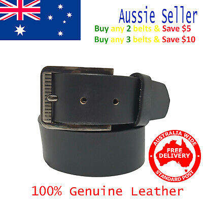 New 39mm Genuine Cowhide Premium Quality Leather Plain Black Men's Jeans Belt